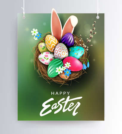 Easter green design with nest, patterned eggs, bunny ears and willow twig