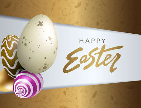 Easter design with brown bias curtains, patterned eggs