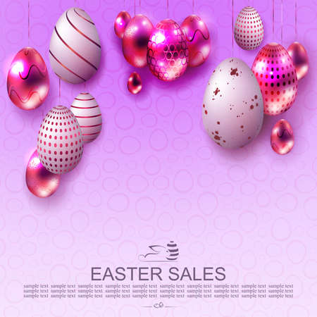 Easter light design with purple gradient, abstract eggs with beautiful pattern on pendants