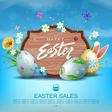 Easter blue illustration with a curly frame, eggs with a pattern, grass with flowers