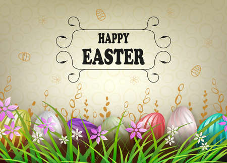 Easter light composition, eggs with a beautiful wavy pattern in the grass with flowers