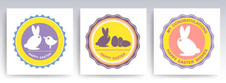Easter set of round signs with abstract silhouettes of a rabbit and a bird