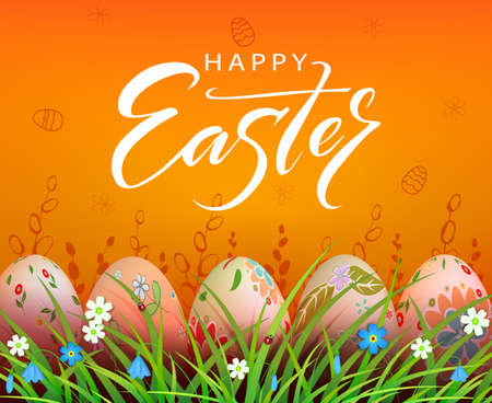 Easter orange composition, patterned eggs are drawn in the grass with flowers