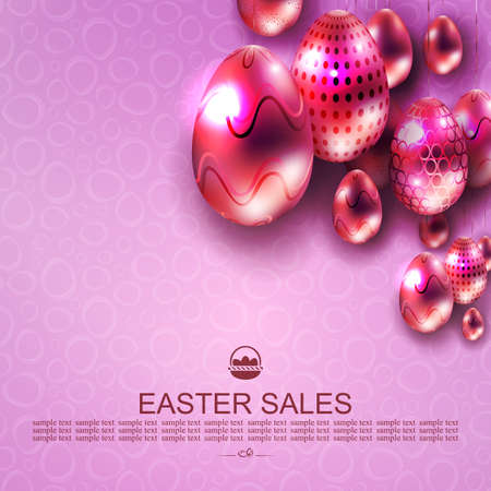 Easter design with light purple gradient, abstract pink glittering eggs with lovely pattern on pendants 矢量图像