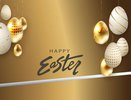 Easter design with brown bias curtains, eggs patterned in gold and white 矢量图像