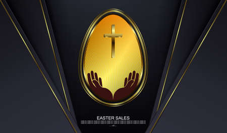 Easter black design with abstract egg with gold border