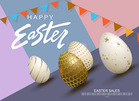 Easter slanting multicolor composition, Easter eggs in white with a pattern
