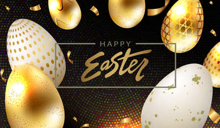 Easter eggs in gold and white shade with pattern, design in black shade with mosaic