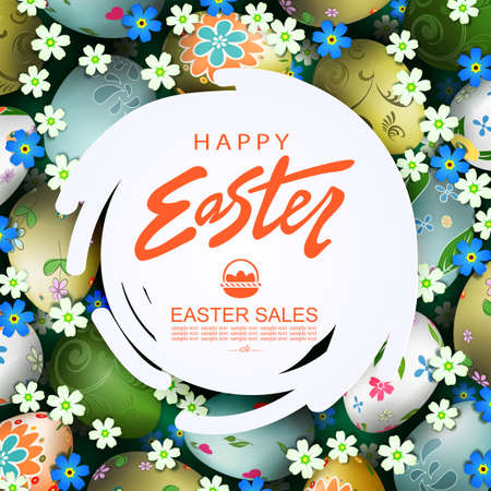 Abstract round white frame, illustration with Easter eggs with a pattern, flowers in blue and white