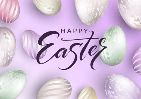 Easter light purple composition, eggs with a beautiful pattern