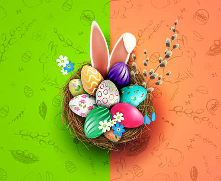 Easter design with a nest, eggs with a pattern, bunny ears, a willow twig 矢量图像
