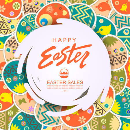 Abstract round white frame, illustration with Easter eggs with a cute pattern