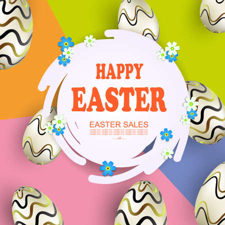 Easter composition with abstract round white frame, round egg frame with wavy pattern