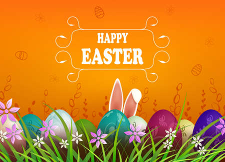 Easter orange composition, rabbit ears, colorful eggs in the grass with flowers 矢量图像