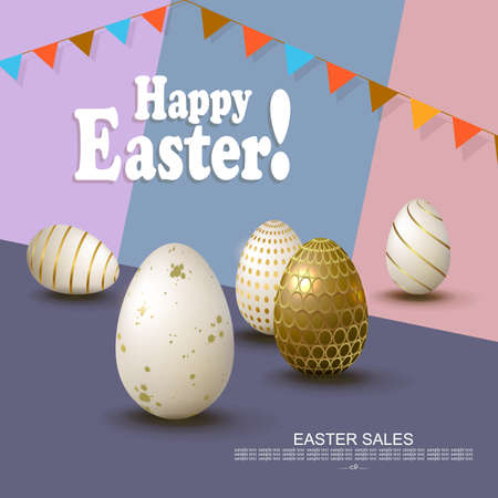 Easter slanting multicolor composition, white eggs with a pattern