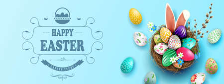 Easter light blue illustration, eggs in a basket with a beautiful pattern, bunny ears