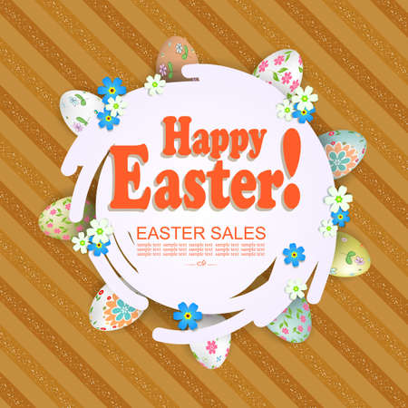Brown striped composition with an abstract round white frame, around the frame Easter eggs with a pattern