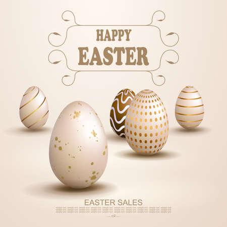 Easter light beige design, set of patterned eggs 矢量图像