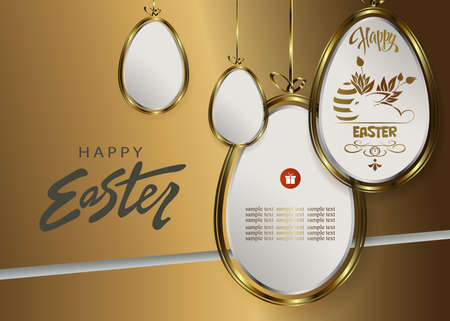 Easter design with abstract silhouettes of eggs with gold border on pendants 矢量图像