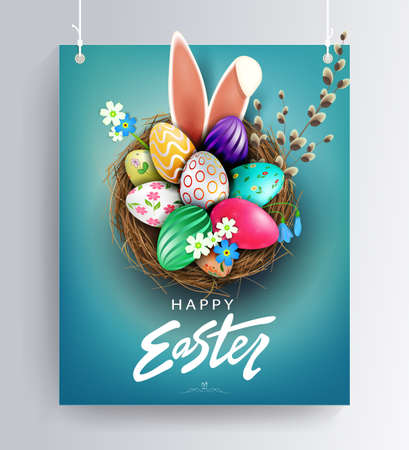 Easter blue design with nest, patterned eggs, bunny ears and willow twig 矢量图像