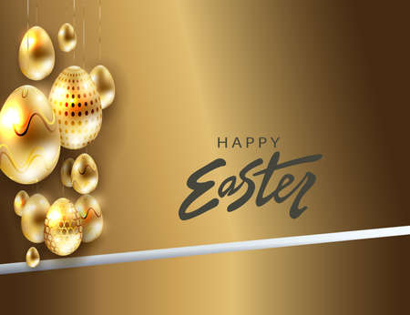 Easter design with brown hue, eggs with gold hue pattern on pendants