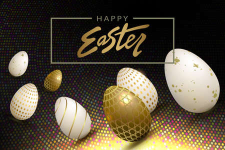 Easter eggs in gold and white shade with pattern, black shade design with bright mosaic