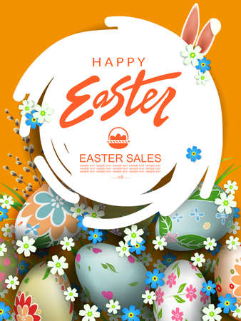 Orange greeting card with abstract round white frame, Easter eggs and flowers