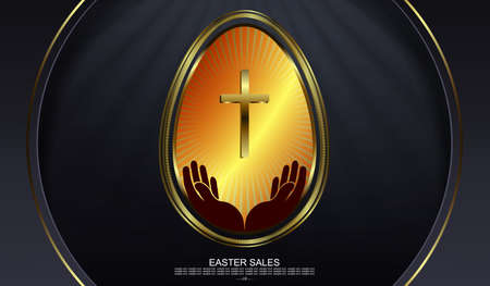 Easter black design with arcs, abstract egg with gold border, cross and hands