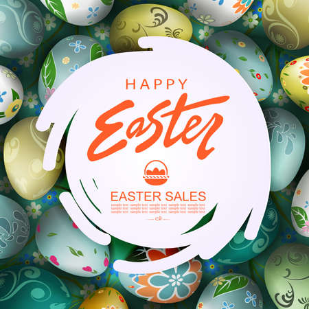 Abstract round white frame, illustration with Easter eggs with a pattern