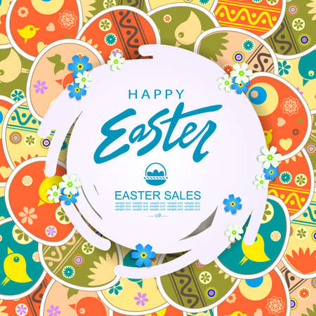 Abstract round white frame with flowers, illustration with Easter beautiful eggs and with a cute pattern 矢量图像