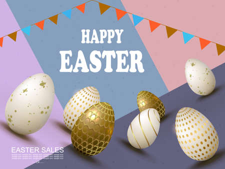Easter slanting multicolor composition, white and brown eggs with a pattern