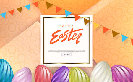 Easter orange composition, square white frame with gold border, eggs with wavy pattern 矢量图像