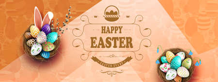 Easter brown illustration, eggs in a nest with a beautiful pattern, bunny ears, willow twigs 矢量图像