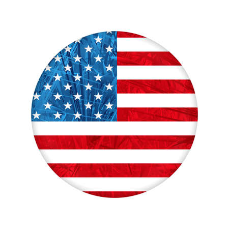 Round textured badge with USA flag silhouette 矢量图像