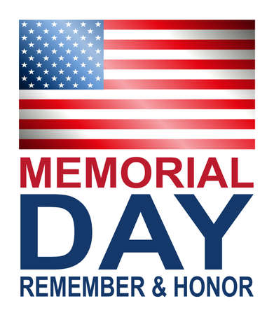 White illustration with outline of America flag, memorial day, design element
