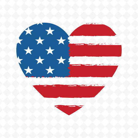 Heart shaped badge with the outlines of the flag of America, design element