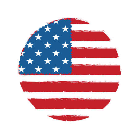 Round textured badge with the silhouette of the flag of America