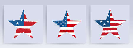 Star shape imprint, silhouette of the flag of America, festive design element, set