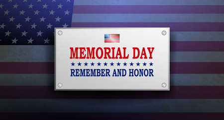 Illustration with rectangular frame, outline of the flag of America, memorial day, design element