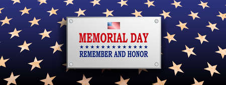 Blue illustration with rectangular frame, textured stars set silhouette, memorial day, design element
