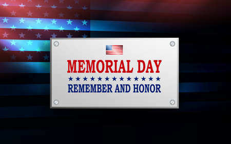 Dark illustration with rectangular frame, abstract silhouette of America flag, memorial day, design element