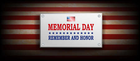 Illustration with rectangular frame, texture silhouette of the flag of America, memorial day, design element