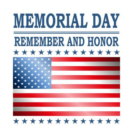 White illustration with silhouette of flag of America, memorial day, design element