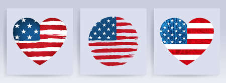 Badge with heart and circle shape with silhouette of the flag of America, holiday design component, set