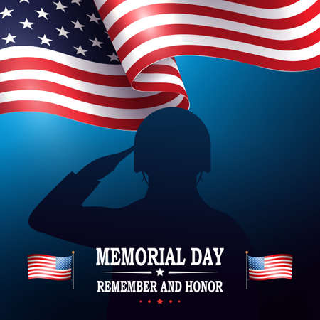 Blue illustration with soldier silhouette and flag of America, memorial day, design element