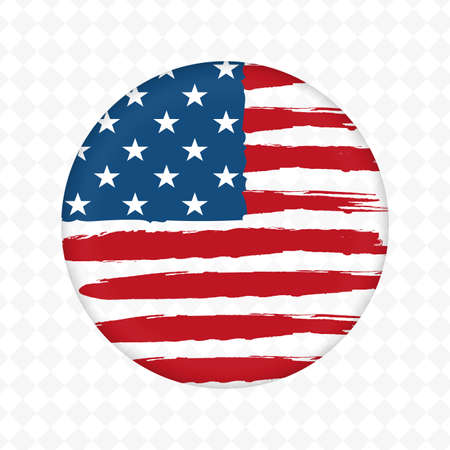 Round embossed badge with silhouette of the flag of America, design element.