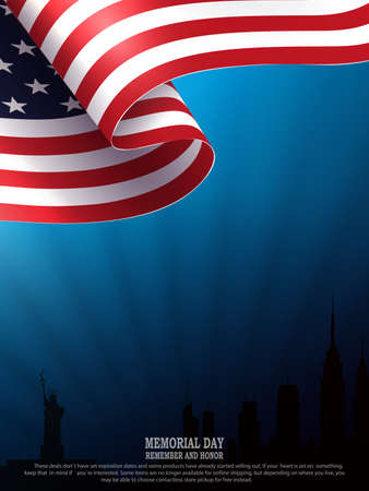 Blue illustration with silhouette of waving USA flag, silhouette of buildings, bright rays of light, independence day, design element.