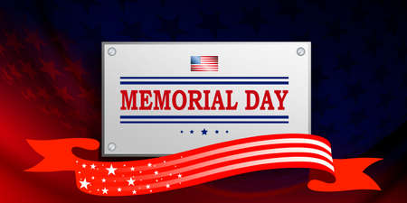 Illustration with blue and red color gradient, rectangular frame, star shape, memorial day, design element.
