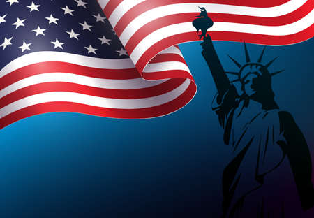 Blue composition with silhouette of waving USA flag, independence day, design element. 矢量图像