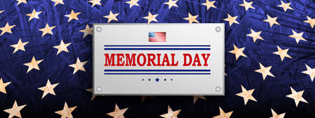 Blue textural illustration with rectangular frame, textured stars set silhouette, memorial day, design element.